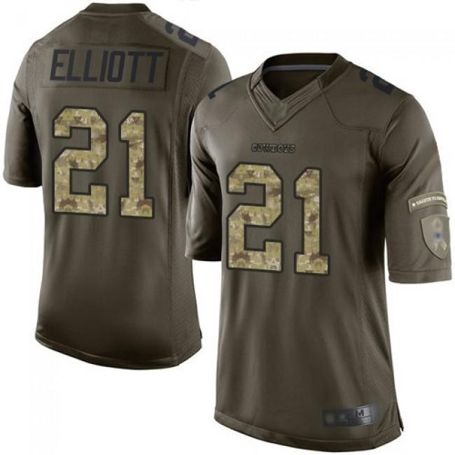 Nike Cowboys #21 Ezekiel Elliott Green Men's Stitched NFL Limited 2015 Salute to Service Jersey