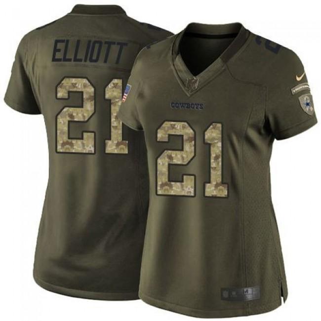 Women's Cowboys #21 Ezekiel Elliott Green Stitched NFL Limited Salute to Service Jersey