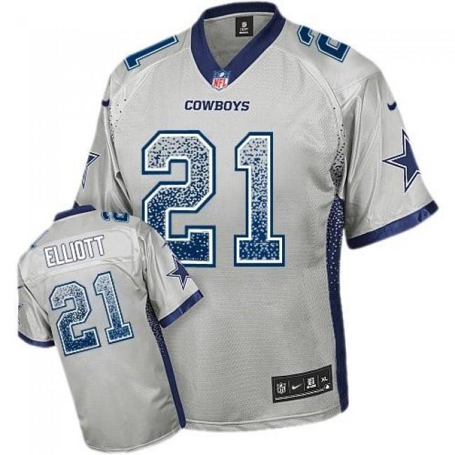 Dallas Cowboys #21 Ezekiel Elliott Grey Youth Stitched NFL Elite Drift Fashion Jersey