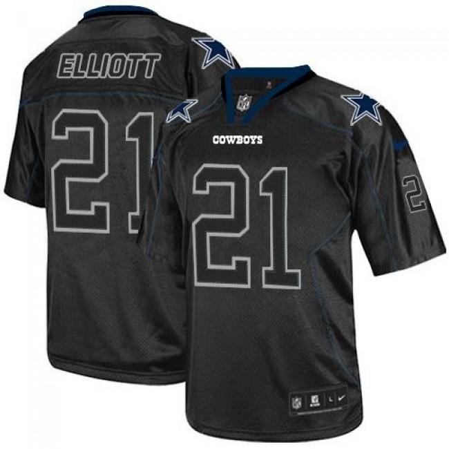 Nike Cowboys #21 Ezekiel Elliott Lights Out Black Men's Stitched NFL Elite Jersey