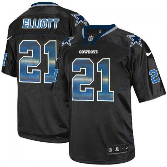 Nike Cowboys #21 Ezekiel Elliott Lights Out Black Men's Stitched NFL Elite Strobe Jersey