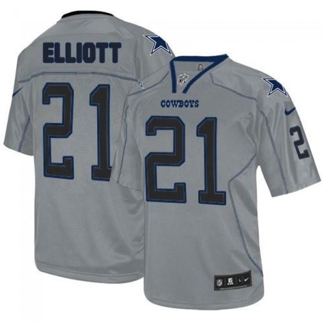 Nike Cowboys #21 Ezekiel Elliott Lights Out Grey Men's Stitched NFL Elite Jersey