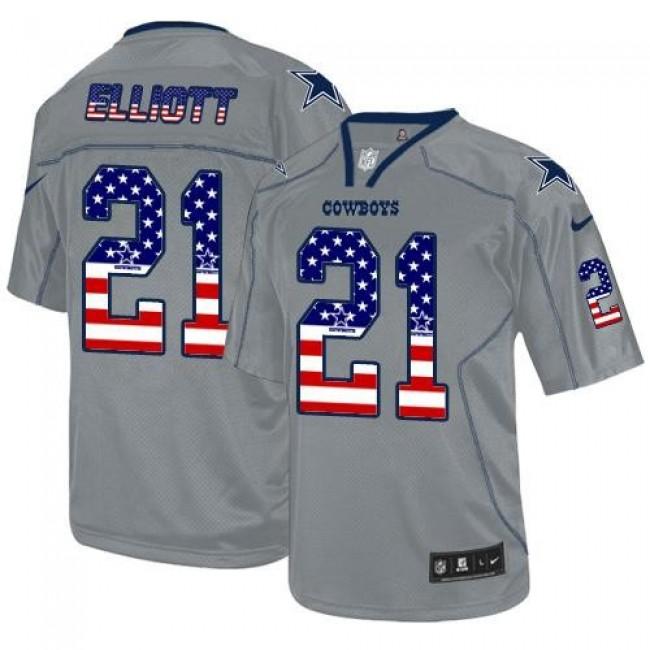 Nike Cowboys #21 Ezekiel Elliott Lights Out Grey Men's Stitched NFL Elite USA Flag Fashion Jersey