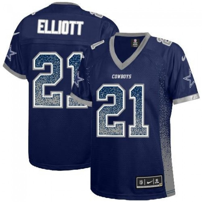 Women's Cowboys #21 Ezekiel Elliott Navy Blue Team Color Stitched NFL Elite Drift Jersey