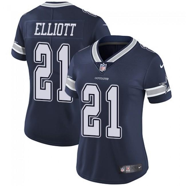 Women's Cowboys #21 Ezekiel Elliott Navy Blue Team Color Stitched NFL Vapor Untouchable Limited Jersey