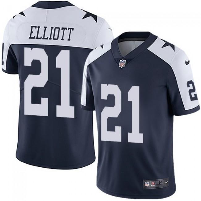 Nike Cowboys #21 Ezekiel Elliott Navy Blue Thanksgiving Men's Stitched NFL Vapor Untouchable Limited Throwback Jersey