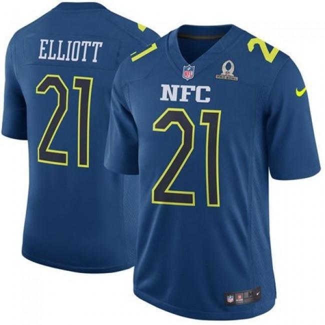Nike Cowboys #21 Ezekiel Elliott Navy Men's Stitched NFL Game NFC 2017 Pro Bowl Jersey