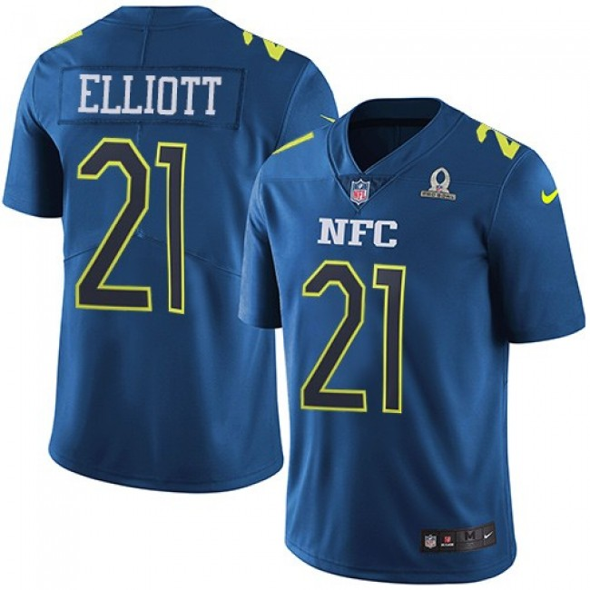 Dallas Cowboys #21 Ezekiel Elliott Navy Youth Stitched NFL Limited NFC 2017 Pro Bowl Jersey