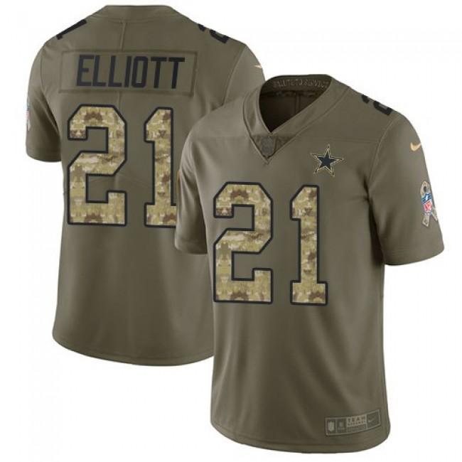 Dallas Cowboys #21 Ezekiel Elliott Olive-Camo Youth Stitched NFL Limited 2017 Salute to Service Jersey