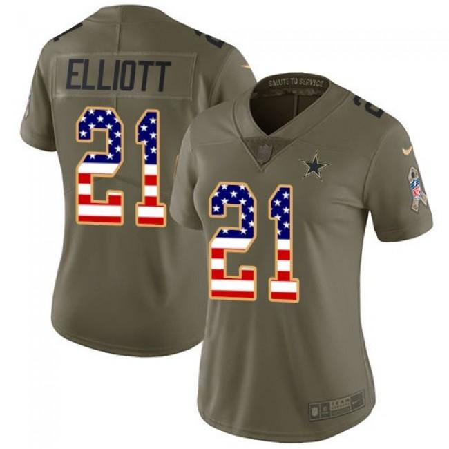 Women's Cowboys #21 Ezekiel Elliott Olive USA Flag Stitched NFL Limited 2017 Salute to Service Jersey