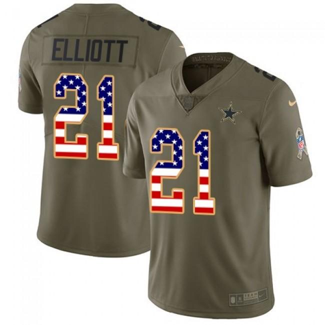 Dallas Cowboys #21 Ezekiel Elliott Olive-USA Flag Youth Stitched NFL Limited 2017 Salute to Service Jersey