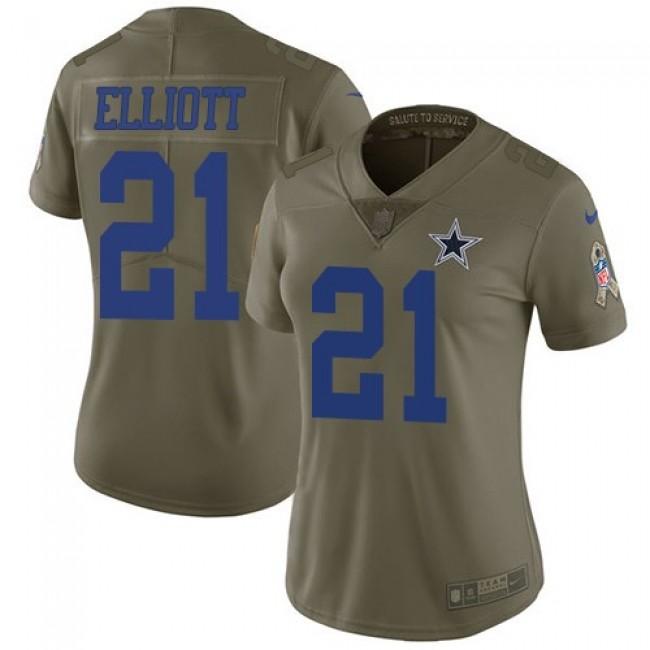Women's Cowboys #21 Ezekiel Elliott Olive Stitched NFL Limited 2017 Salute to Service Jersey