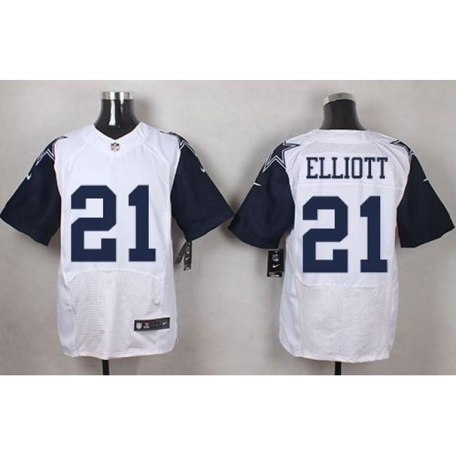 Nike Cowboys #21 Ezekiel Elliott White Men's Stitched NFL Elite Rush Jersey
