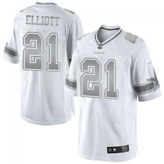 Nike Cowboys #21 Ezekiel Elliott White Men's Stitched NFL Limited Platinum Jersey