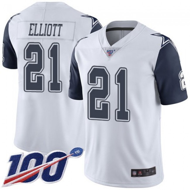 Nike Cowboys #21 Ezekiel Elliott White Men's Stitched NFL Limited Rush 100th Season Jersey