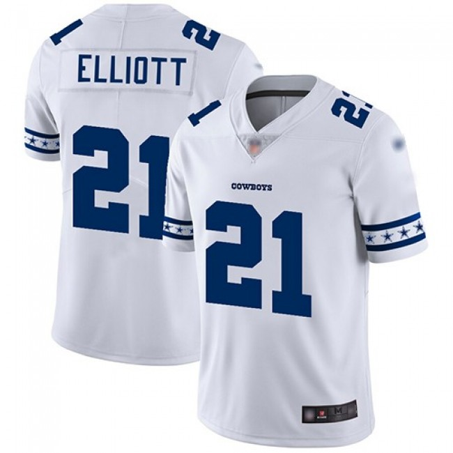 Nike Cowboys #21 Ezekiel Elliott White Men's Stitched NFL Limited Team Logo Fashion Jersey