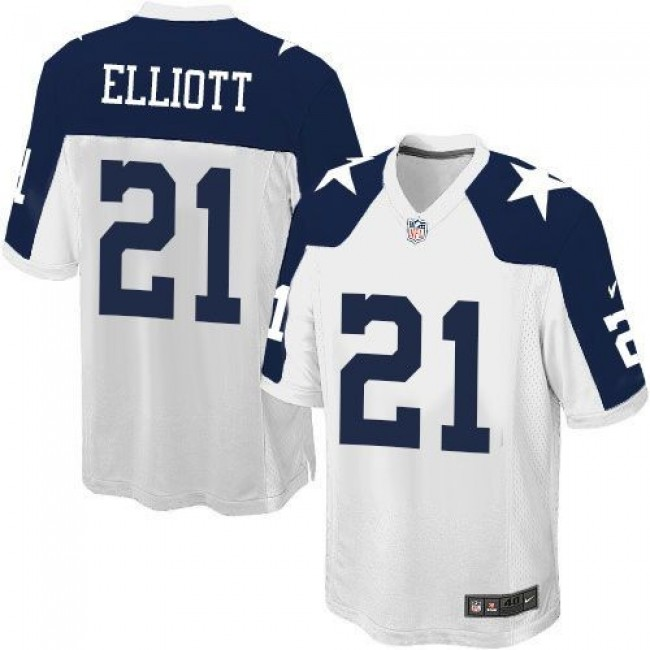 Dallas Cowboys #21 Ezekiel Elliott White Thanksgiving Youth Stitched NFL Throwback Elite Jersey