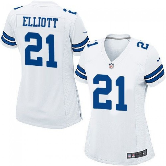 Women's Cowboys #21 Ezekiel Elliott White Stitched NFL Elite Jersey