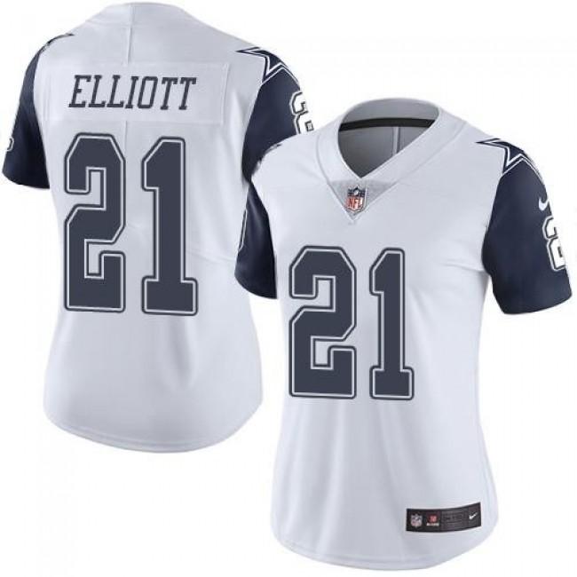 Women's Cowboys #21 Ezekiel Elliott White Stitched NFL Limited Rush Jersey