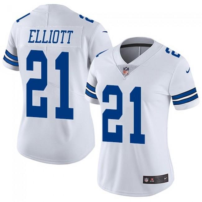 Women's Cowboys #21 Ezekiel Elliott White Stitched NFL Vapor Untouchable Limited Jersey