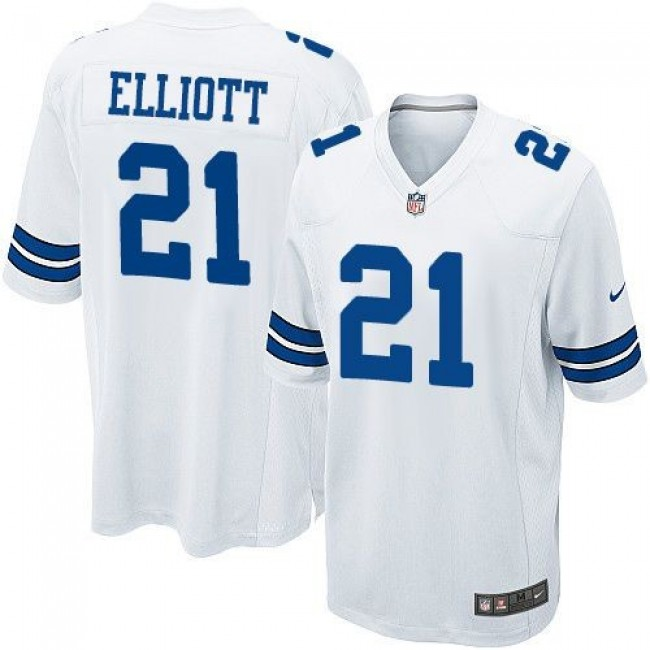 Dallas Cowboys #21 Ezekiel Elliott White Youth Stitched NFL Elite Jersey
