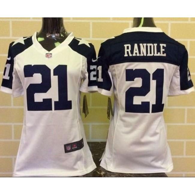 Women's Cowboys #21 Joseph Randle White Thanksgiving Throwback Stitched NFL Elite Jersey