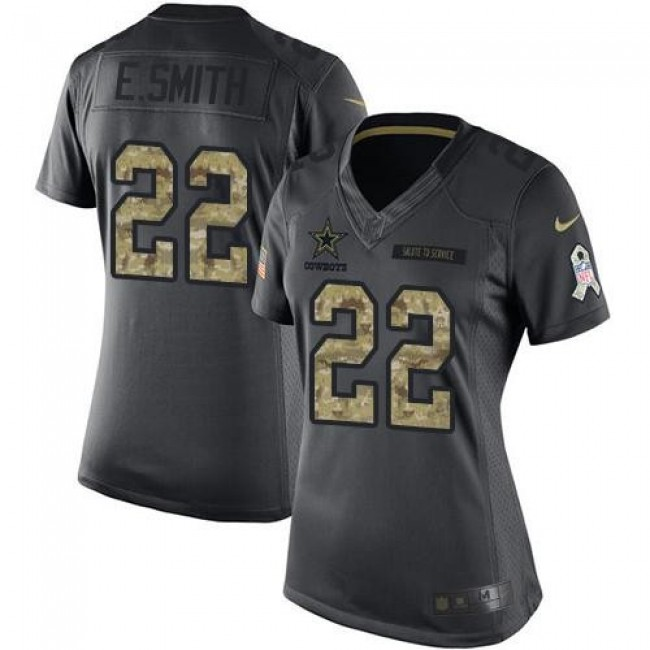 Women's Cowboys #22 Emmitt Smith Black Stitched NFL Limited 2016 Salute to Service Jersey