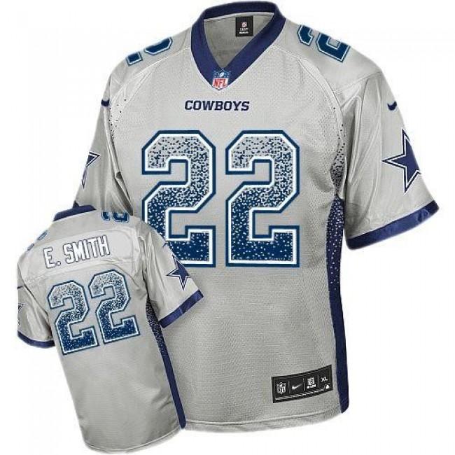 Nike Cowboys #22 Emmitt Smith Grey Men's Stitched NFL Elite Drift Fashion Jersey