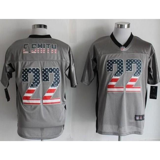 Nike Cowboys #22 Emmitt Smith Grey Men's Stitched NFL Elite USA Flag Fashion Jersey