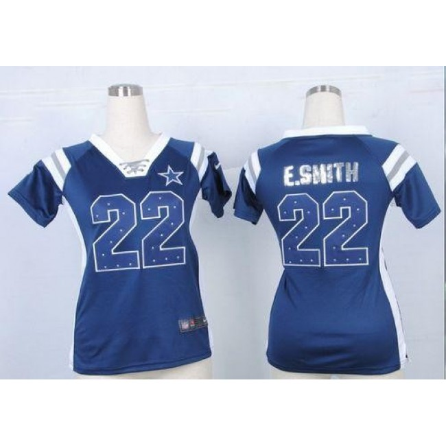 Women's Cowboys #22 Emmitt Smith Navy Blue Team Color Stitched NFL Elite Draft Him Shimmer Jersey