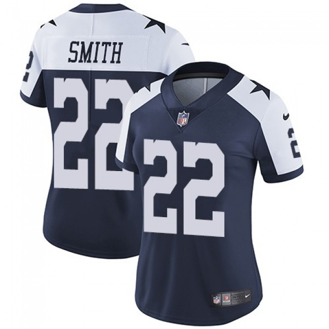Women's Cowboys #22 Emmitt Smith Navy Blue Thanksgiving Stitched NFL Vapor Untouchable Limited Throwback Jersey