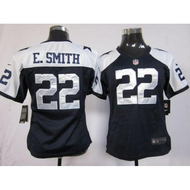 Women's Cowboys #22 Emmitt Smith Navy Blue Thanksgiving Throwback Stitched NFL Elite Jersey