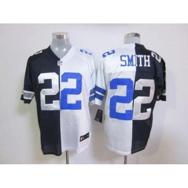 Nike Cowboys #22 Emmitt Smith Navy Blue/White Men's Stitched NFL Elite Split Jersey