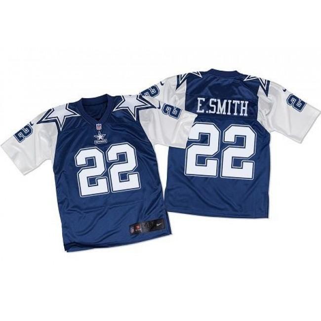 Nike Cowboys #22 Emmitt Smith Navy Blue/White Throwback Men's Stitched NFL Elite Jersey