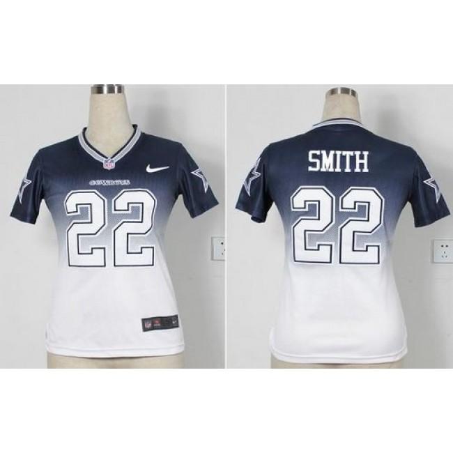 Women's Cowboys #22 Emmitt Smith Navy Blue White Stitched NFL Elite Fadeaway Jersey