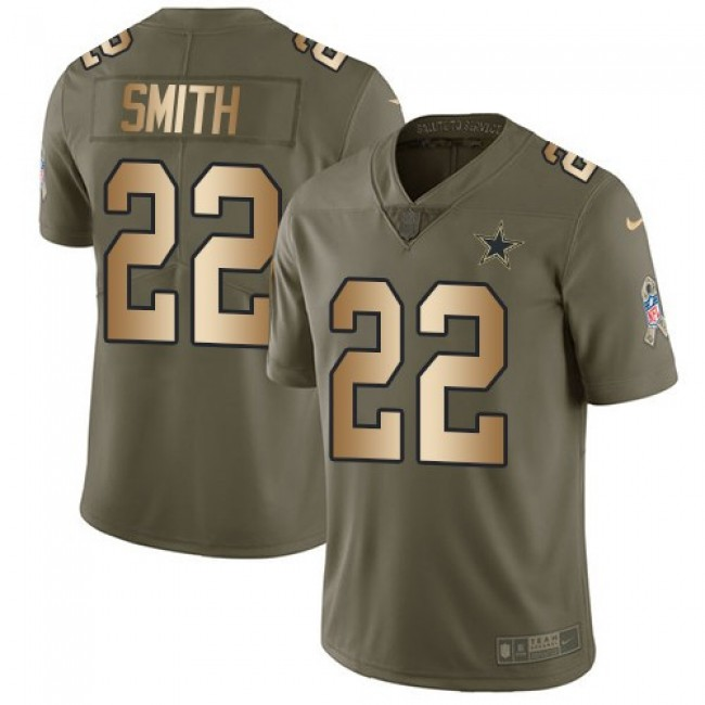 Nike Cowboys #22 Emmitt Smith Olive/Gold Men's Stitched NFL Limited 2017 Salute To Service Jersey