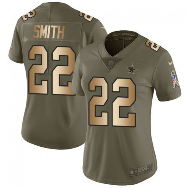 Women's Cowboys #22 Emmitt Smith Olive Gold Stitched NFL Limited 2017 Salute to Service Jersey