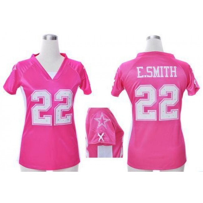Women's Cowboys #22 Emmitt Smith Pink Draft Him Name Number Top Stitched NFL Elite Jersey