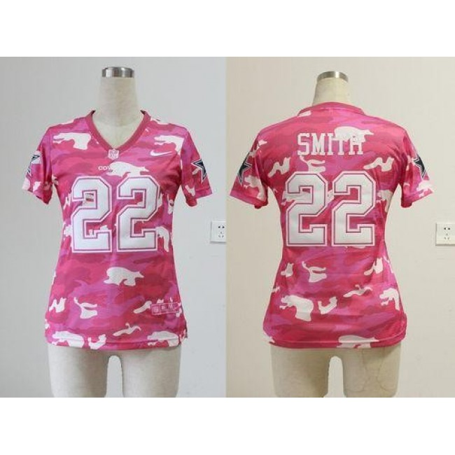 Women's Cowboys #22 Emmitt Smith Pink Stitched NFL Elite Camo Jersey
