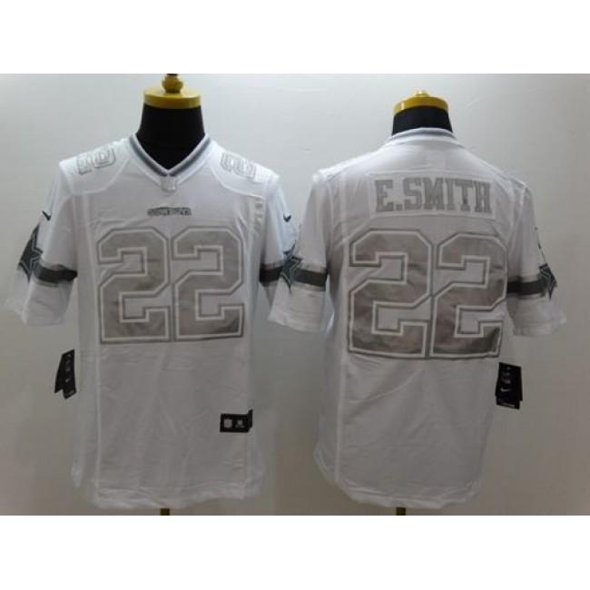 Nike Cowboys #22 Emmitt Smith White Men's Stitched NFL Limited Platinum Jersey