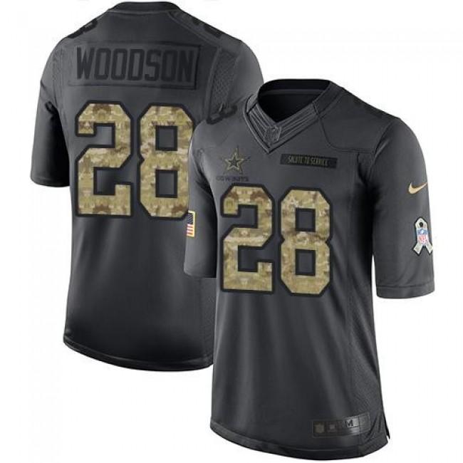Nike Cowboys #28 Darren Woodson Black Men's Stitched NFL Limited 2016 Salute To Service Jersey