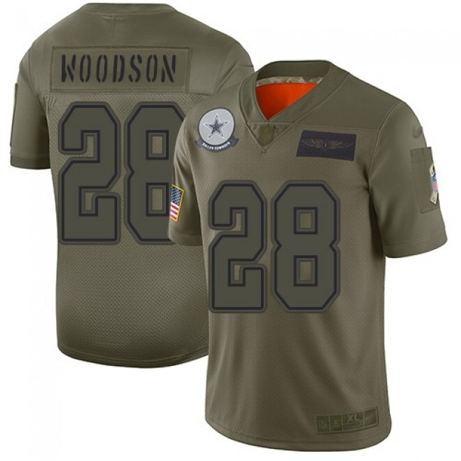 Nike Cowboys #28 Darren Woodson Camo Men's Stitched NFL Limited 2019 Salute To Service Jersey