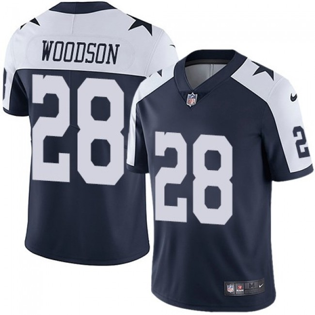 Nike Cowboys #28 Darren Woodson Navy Blue Thanksgiving Men's Stitched NFL Vapor Untouchable Limited Throwback Jersey