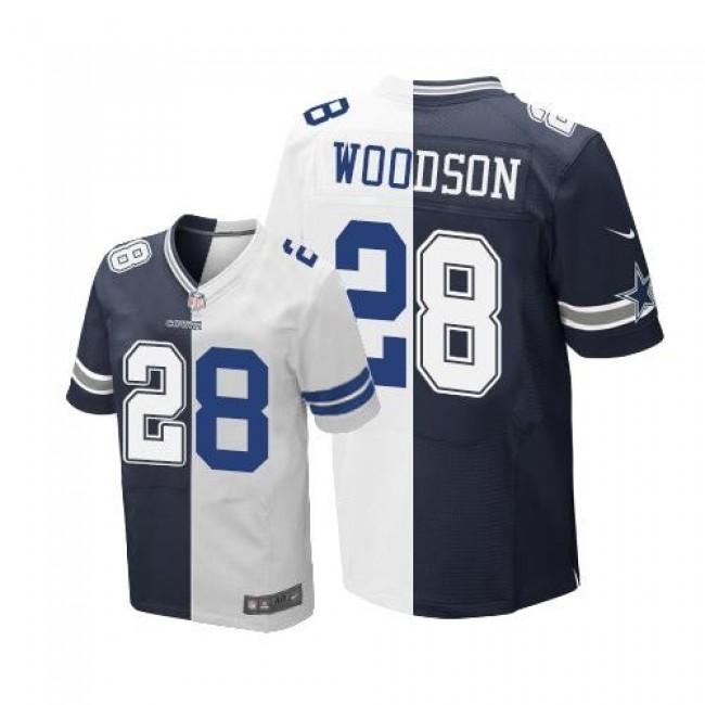 Nike Cowboys #28 Darren Woodson Navy Blue/White Men's Stitched NFL Elite Split Jersey