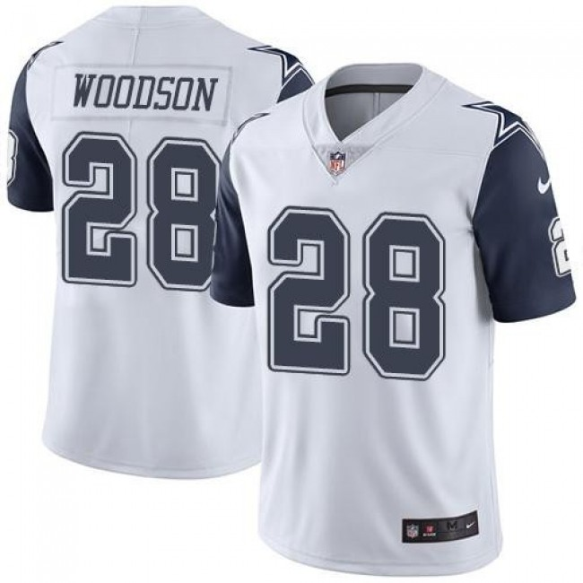 Nike Cowboys #28 Darren Woodson White Men's Stitched NFL Limited Rush Jersey