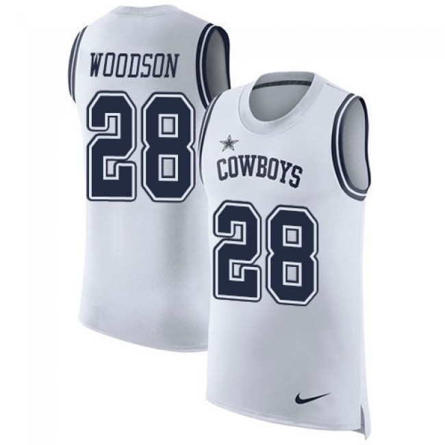 Nike Cowboys #28 Darren Woodson White Men's Stitched NFL Limited Rush Tank Top Jersey