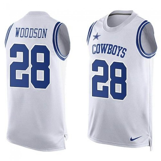 Nike Cowboys #28 Darren Woodson White Men's Stitched NFL Limited Tank Top Jersey