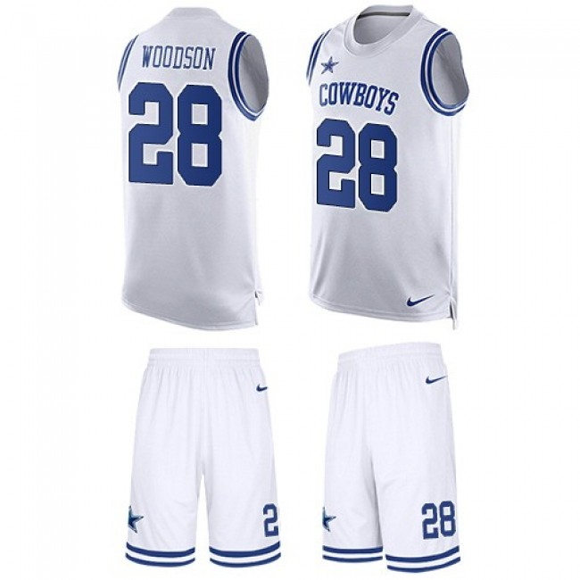 Nike Cowboys #28 Darren Woodson White Men's Stitched NFL Limited Tank Top Suit Jersey