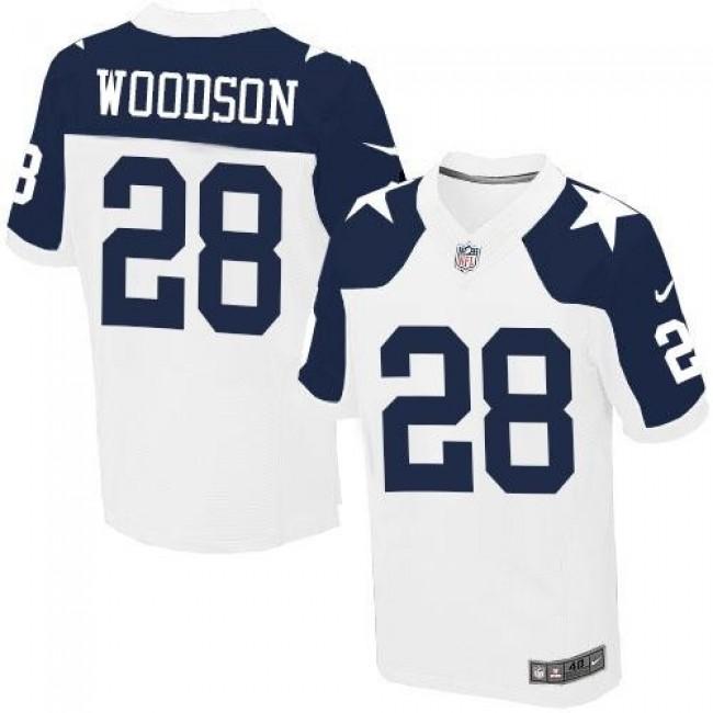 Nike Cowboys #28 Darren Woodson White Thanksgiving Throwback Men's Stitched NFL Elite Jersey