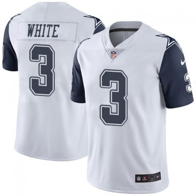 Nike Cowboys #3 Mike White White Men's Stitched NFL Limited Rush Jersey